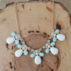Multi Stone Statement Necklace Set