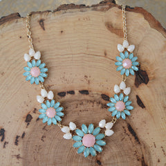 Mint and Pink Flower Statement Set
