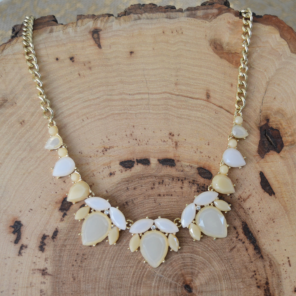 Ivory Leaf Statement Necklace Set