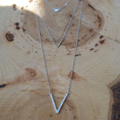 Trio-Chain Layer Silver Necklace