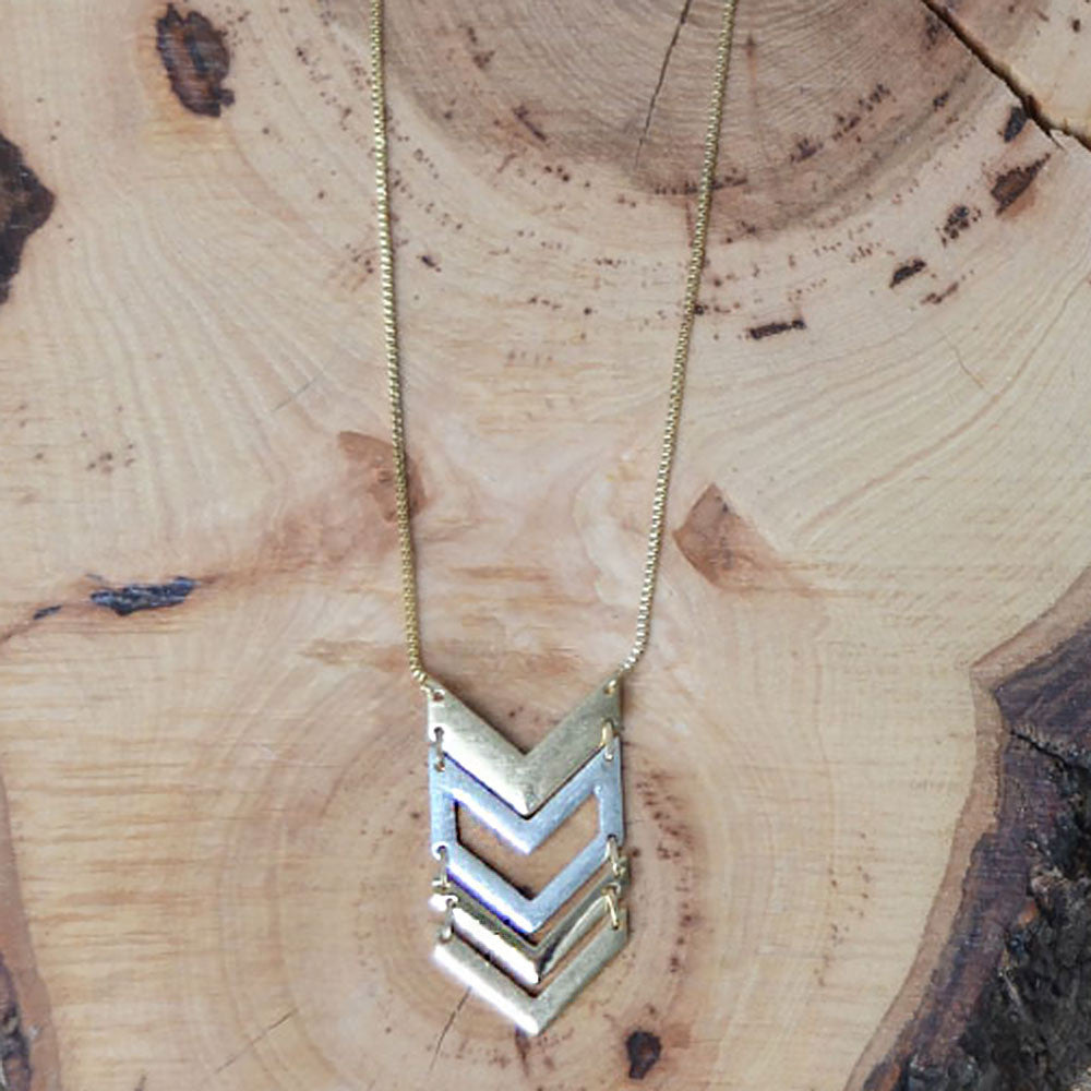 Mixed Metal Geo Necklace