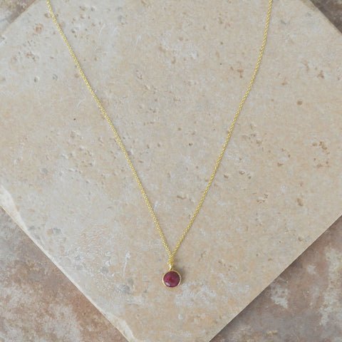 Maroon Stone Sterling Gold Necklace