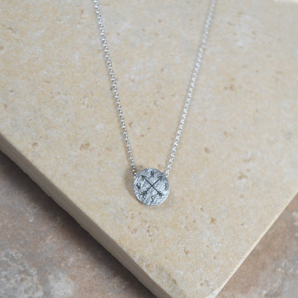 Silver Compass Necklace
