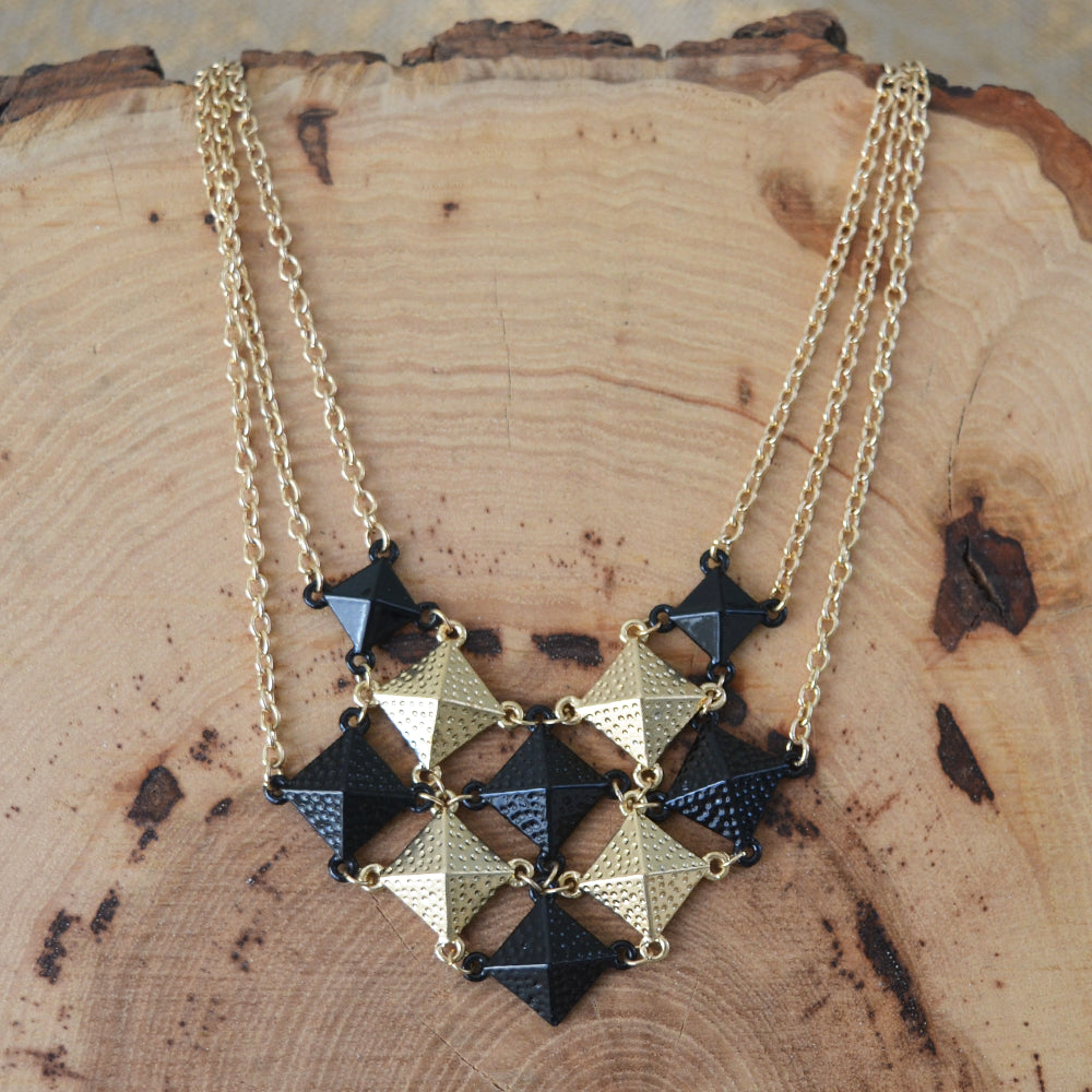 Black and Gold Checkered Statement Necklace