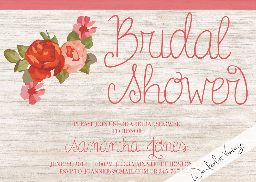 Floral - Bridal Shower Invitation - Digital Printable