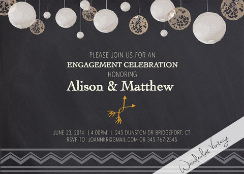 Chalkboard - Engagement Party Invitation - Digital Printable
