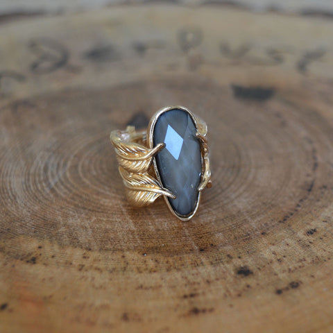 Smokey Stone Leaf Ring