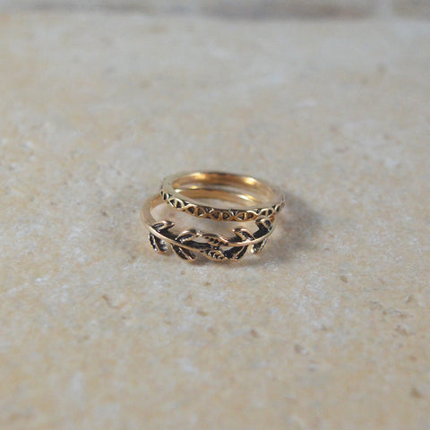Gold Leaf Ring Set