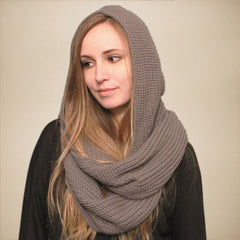 Grey Knit Hooded Infinity