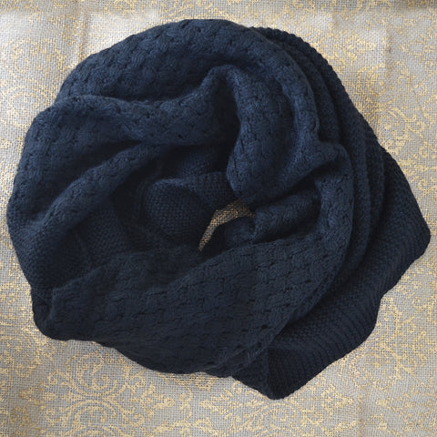Black Infinity Knit Scarf