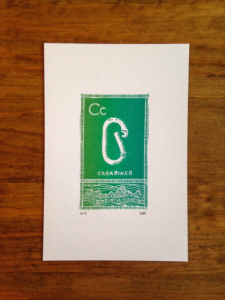 C is for Carabiner Linocut Print