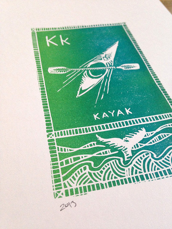 K is for Kayak Linocut Print