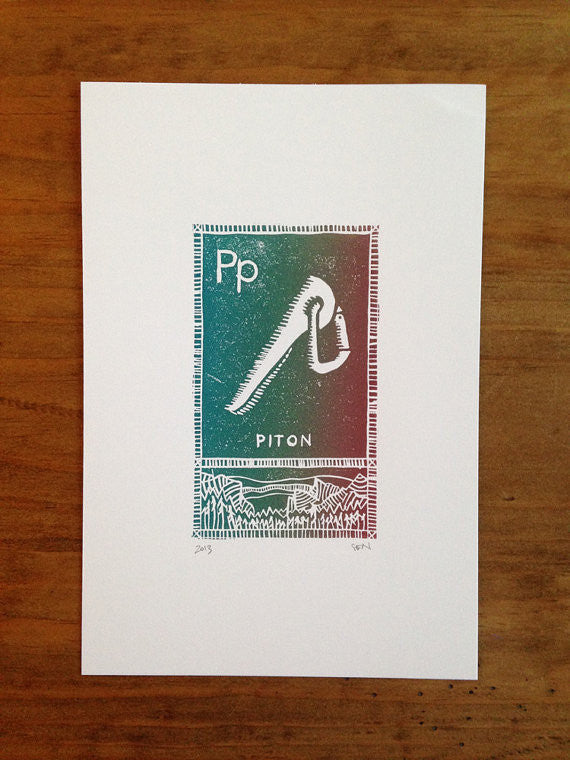 P is for Piton Linocut Print
