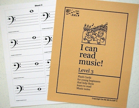 Music Note Flash Cards - Level 3  ENGLISH (downloadable)