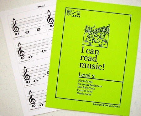 Music Note Flash Cards - Level 2  ENGLISH (downloadable)