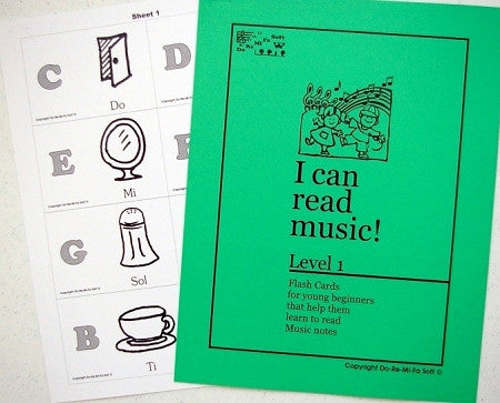 Music Note Flash Cards - Level 1  ENGLISH (downloadable)