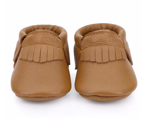 Bird Rock Baby Leather Moccasins-Brown