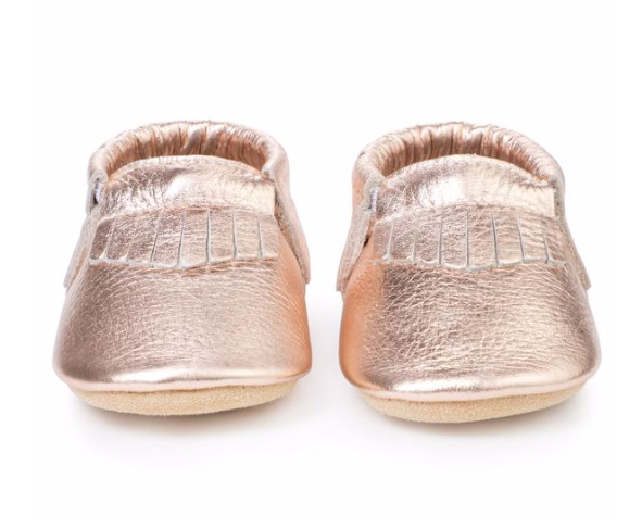 Bird Rock Baby Leather Moccasins-Rose Gold
