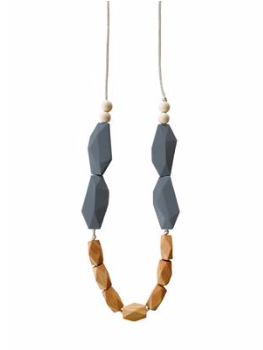 Mom's Teething Necklace- Gray