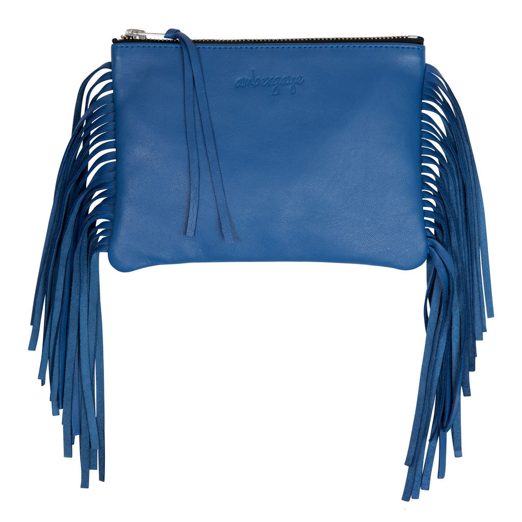 THE FRINGE CLUTCH - COBALT