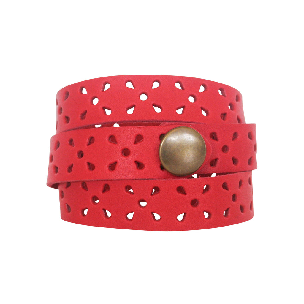 THE WRAP CUFF - RED PERFORATED