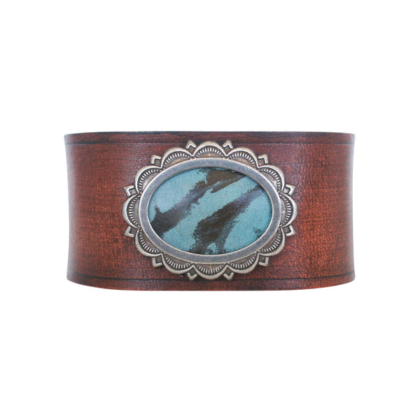 THE CONCHO CUFF - TURQUOISE TAN