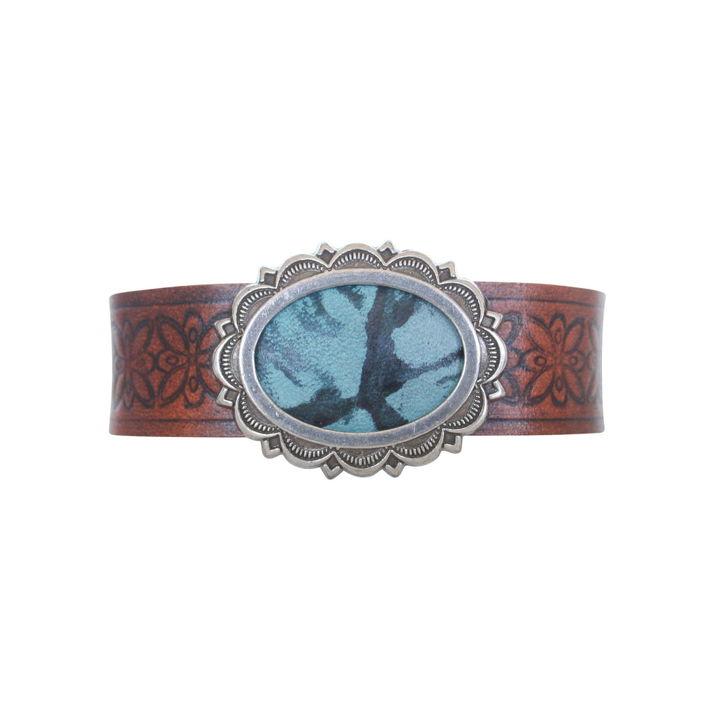 THE CONCHETTE CUFF - TURQUOISE TAN