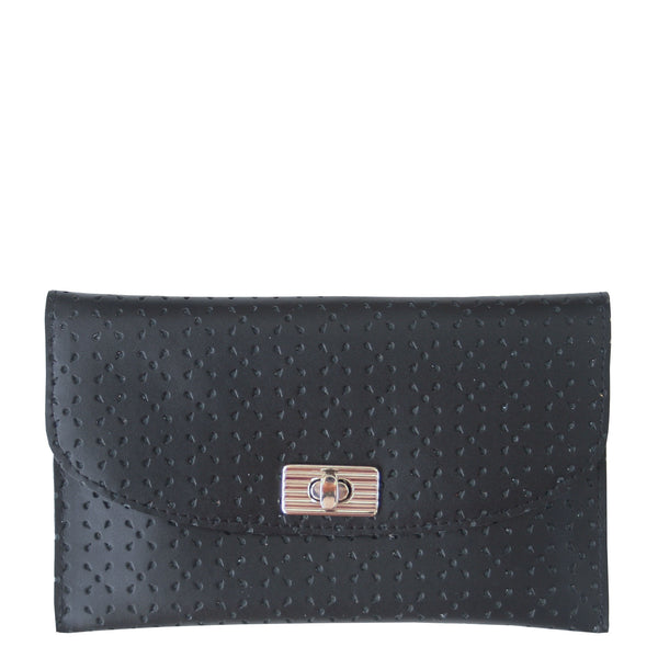 THE TURNLOCK WALLET - BLACK PERFORATED