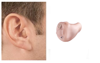 ITC Hearing Aid Shown On Ear