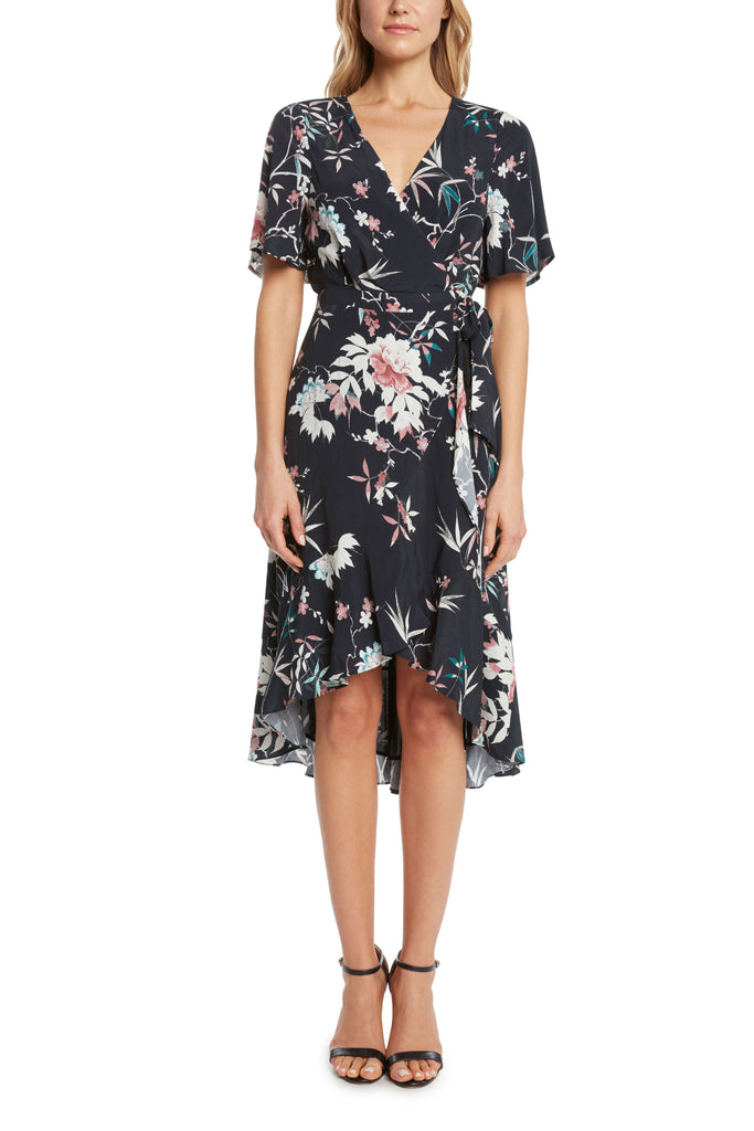 Spokane Flutter Sleeve Wrap Dress