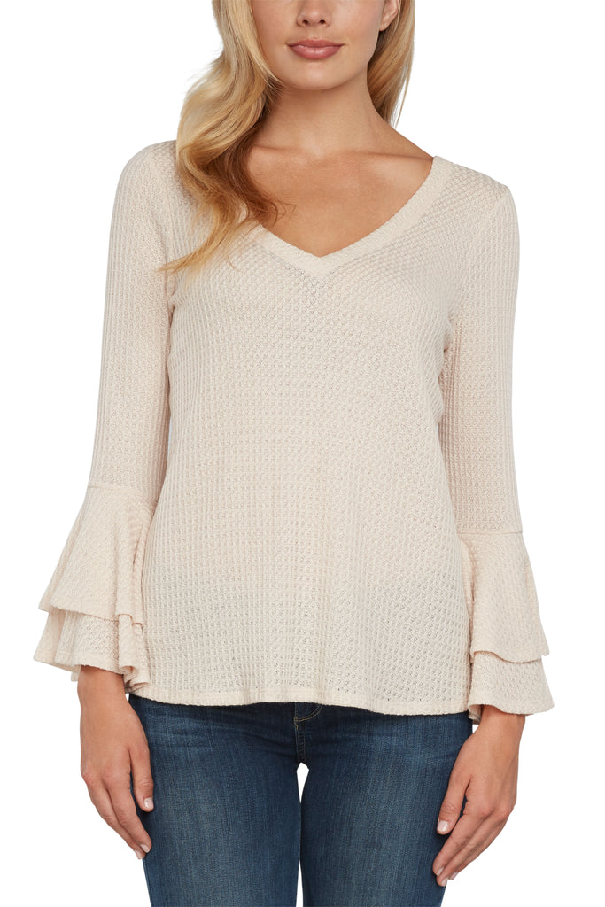 Dixie Ruffle Sleeve Knit Top