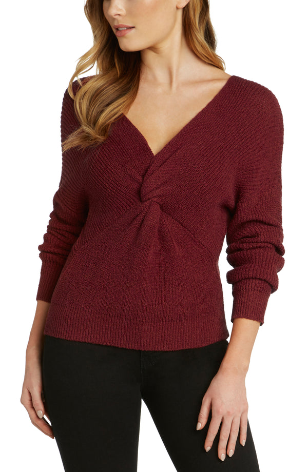 Sunset Twist Front Sweater