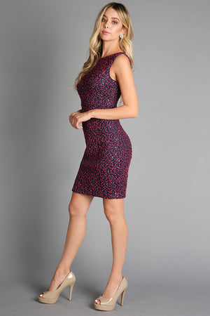 Fuchsia Sequin Embroidered Lace Dress - steven wick