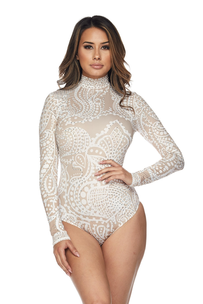 Nude Print Bodysuit Top With Rhinestone Design - STEVEN WICK