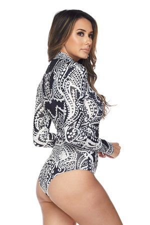 Black Print Bodysuit With Rhinestone Design - STEVEN WICK