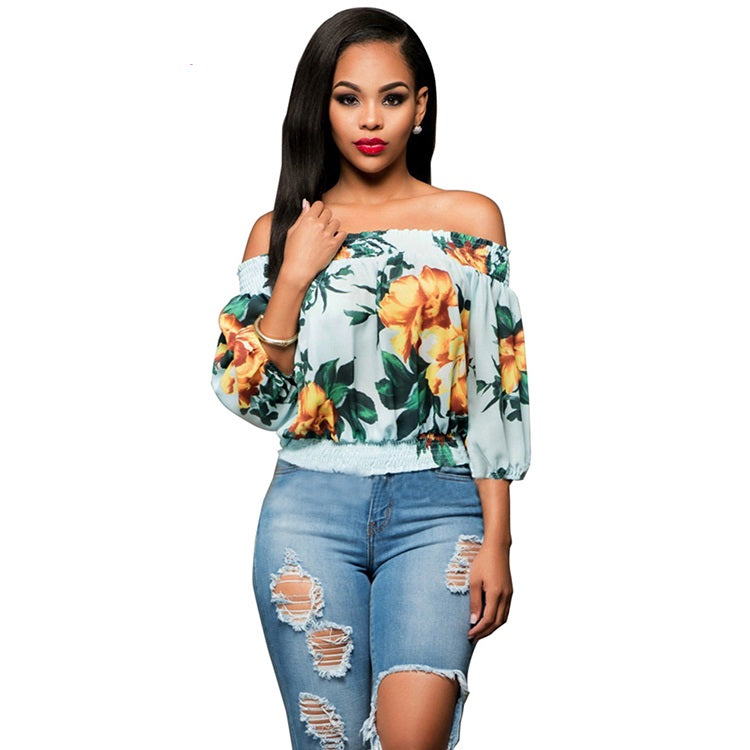 Light Blue Off Shoulder Floral Print Top - STEVEN WICK