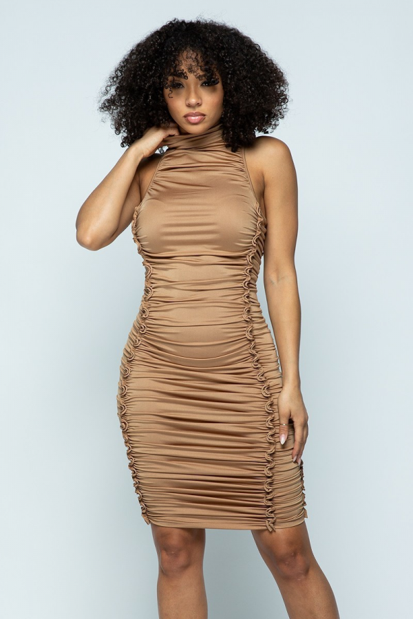 Mocha Turtle Neck Cringe Dress - STEVEN WICK