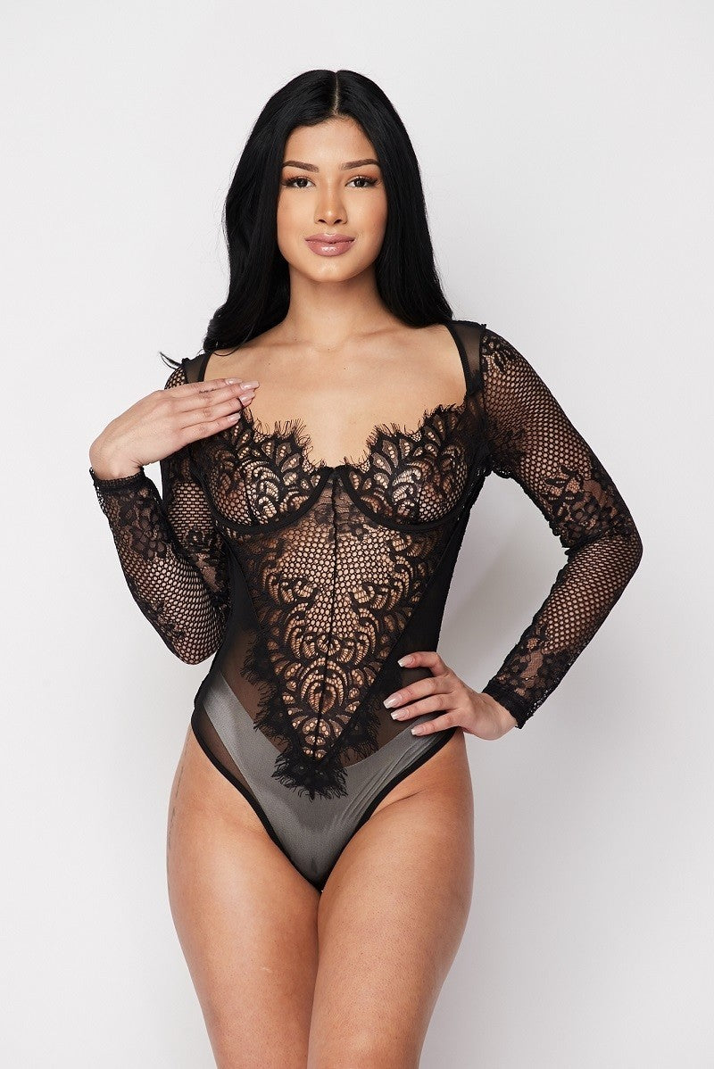 Black Sheer Lace Bustier Bodysuit - STEVEN WICK