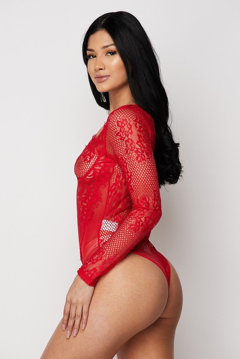 Red Sheer Lace Bustier Bodysuit - STEVEN WICK