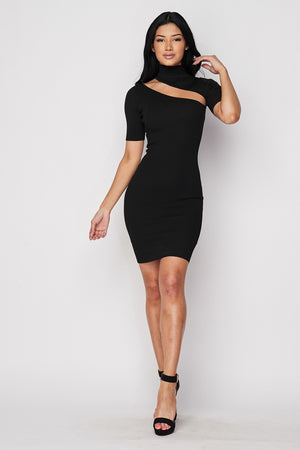 Black Ribbed Knit Keyhole Dress - STEVEN WICK