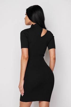 Black Ribbed Knit Keyhole Mini Dress - STEVEN WICK