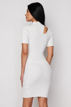 White Ribbed Knit Keyhole Dress - STEVEN WICK