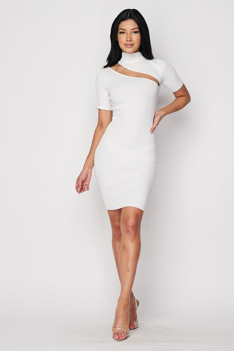White Ribbed Knit Keyhole Dress - stevenwick