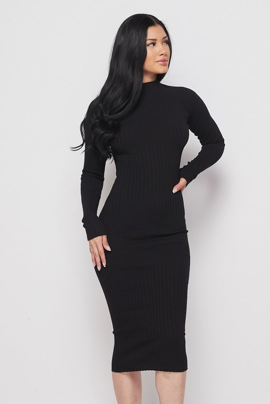 Black Long Sleeve Mock Neck Midi Knit Dress - STEVEN WICK