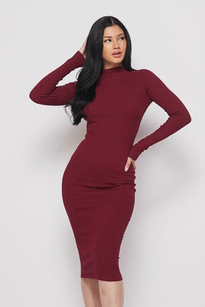 Red Long Sleeve Mock Neck Midi Knit Dress - STEVEN WICK