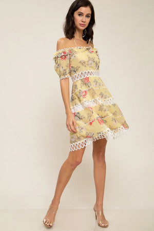Light Yellow Floral Print Dress - STEVEN WICK