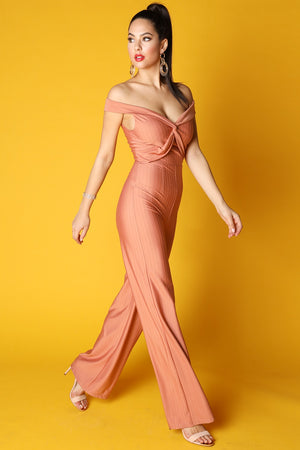 Off Shoulder Knotted Jumpsuit - STEVEN WICK