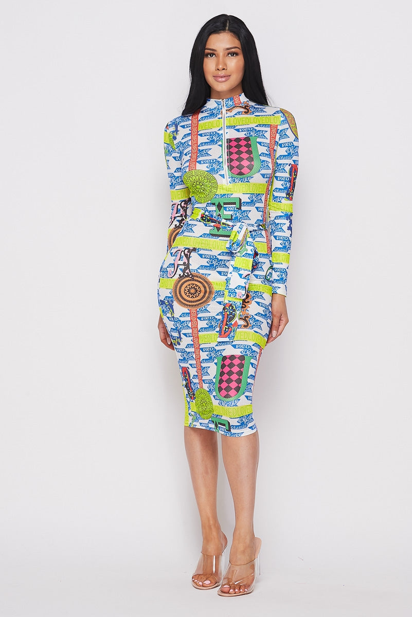 Multi Blue Long Sleeve Print Dress With Front Zipper - STEVEN WICK