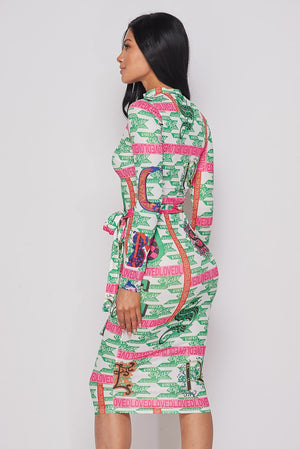 Multi Green Long Sleeve Print Dress With Front Zipper - STEVEN WICK