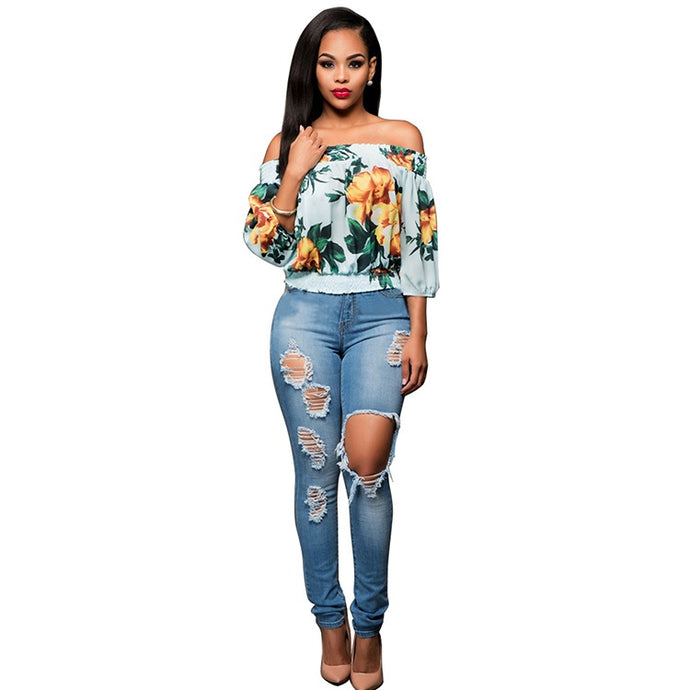 Light Blue Off Shoulder Floral Print Top - stevenwick